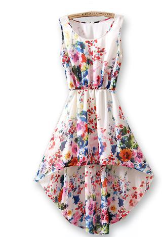 SLEEVELESS AFTER SHORT BEFORE LONG SMALL BROKEN FLOWER PRINTED CHIFFON DRESS